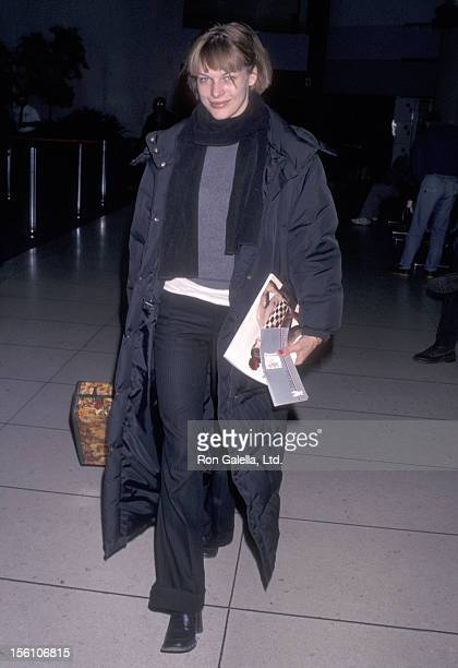 Model/Actress Milla Jovovich on February 16 1998 at Los Angeles International Airport in Los Angeles California