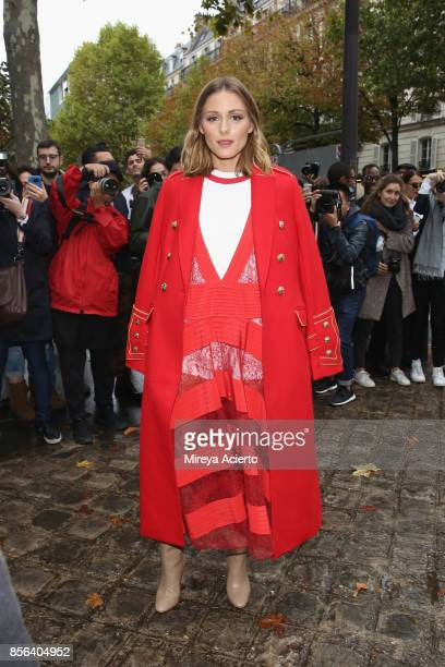 Model/actress Olivia Palermo attends the Valentino show as part of the Paris Fashion Week Womenswear Spring/Summer 2018 on October 1 2017 in Paris...