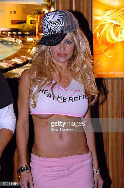 Model/actress Pamela Anderson enters the Pamela Anderson 'Bitch' party and fashion show at The Palms resort casino in on Feburary 16 2005 in Las...