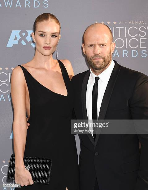 Model/actress Rosie HuntingtonWhiteley and actor Jason Statham attend the 21st Annual Critics' Choice Awards at Barker Hangar on January 17 2016 in...