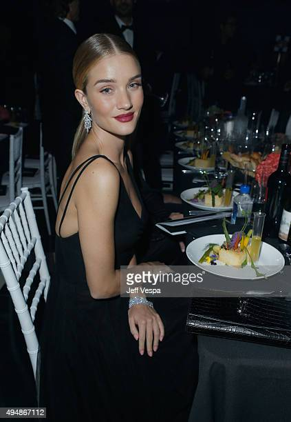 Model/actress Rosie HuntingtonWhiteley attends amfAR's Inspiration Gala Los Angeles at Milk Studios on October 29 2015 in Hollywood California