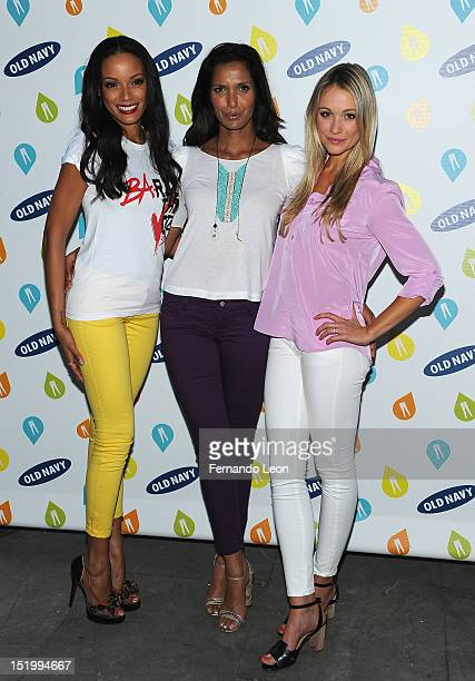 Model/actress Selita Ebanks TV personality Padma Lakshmi and actress Katrina Bowden attends Old Navy 'Rockstar Fashion Show' at Bryant Park Grill on...