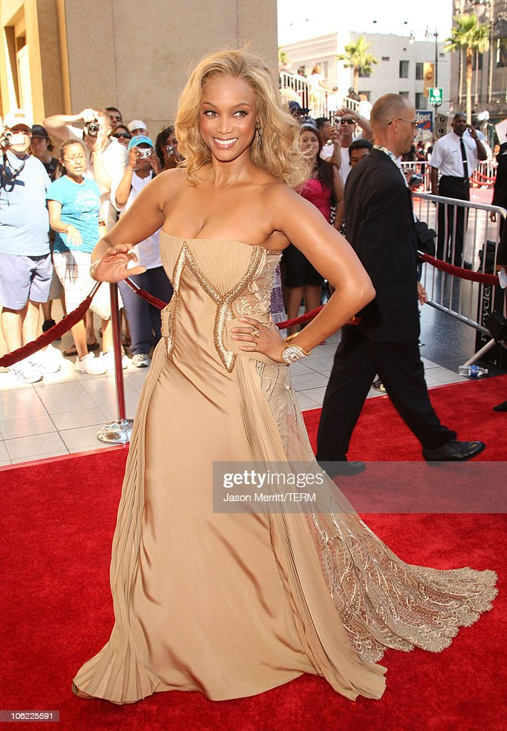 Model/Actress <a gi-track='captionPersonalityLinkClicked' href=/galleries/search?phrase=Tyra+Banks&family=editorial&specificpeople=202216 ng-click='$event.stopPropagation()'>Tyra Banks</a> arrives to The 35th Annual Daytime Emmy Awards at the Kodak Theatre on June 20, 2008 in Los Angeles, California.