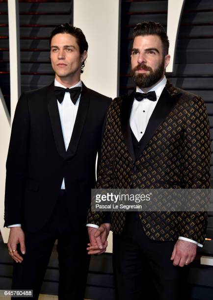 Modelartist Miles McMillan and actor Zachary Quinto attend the 2017 Vanity Fair Oscar Party hosted by Graydon Carter at Wallis Annenberg Center for...