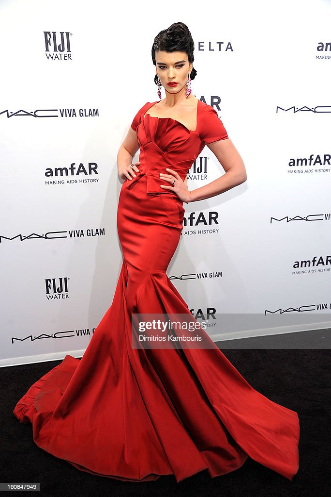 Model/Author Crystal Renn attends the amfAR New York Gala to kick off Fall 2013 Fashion Week at Cipriani Wall Street on February 6, 2013 in New York City.