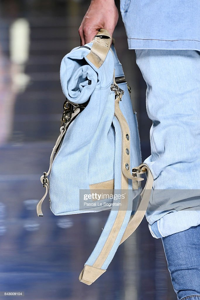 A model,bag detail, walks the runway during the Balmain Menswear Spring/Summer 2017 show as part of Paris Fashion Week on June 25, 2016 in Paris, France.