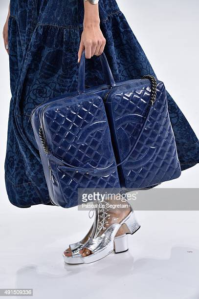 A modelbag detail walks the runway during the Chanel show as part of the Paris Fashion Week Womenswear Spring/Summer 2016 on October 6 2015 in Paris...