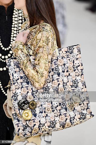 A modelbag detail walks the runway during the Chanel show as part of the Paris Fashion Week Womenswear Fall/Winter 2016/2017 on March 8 2016 in Paris...
