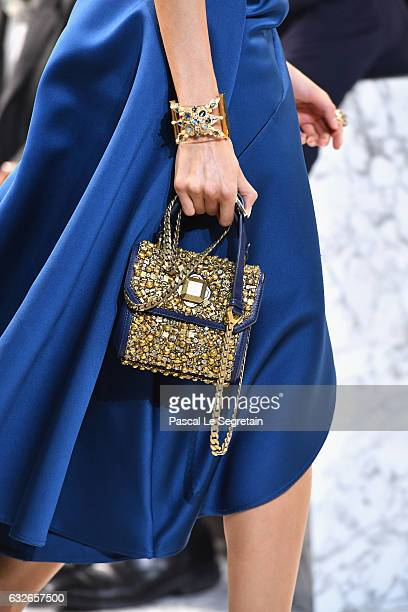 A modelbag detail walks the runway during the Elie Saab Spring Summer 2017 show as part of Paris Fashion Week on January 25 2017 in Paris France