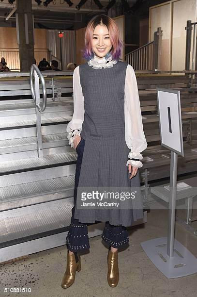 Model/blogger Irene Kim attends the DKNY Women's Fall 2016 fashion show during New York Fashion Week The Shows at Skylight Modern on February 17 2016...