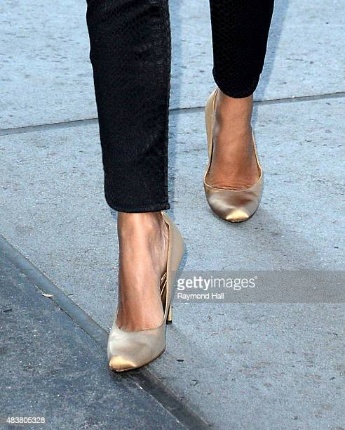 Model/Cook Camila Alves shoe detail is seen in walking in Midtown on August 13 2015 in New York City