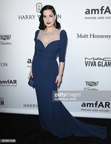 Model/dancer Dita Von Teese arrives at amfAR's Inspiration Gala Los Angeles at Milk Studios on October 27 2016 in Hollywood California