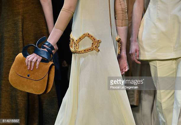 A modeldetail walks the runway during the Celine show as part of the Paris Fashion Week Womenswear Fall/Winter 2016/2017 on March 6 2016 in Paris...