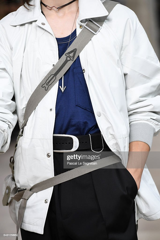 A model,detail, walks the runway during the Lanvin Menswear Spring/Summer 2017 show as part of Paris Fashion Week on June 26, 2016 in Paris, France.