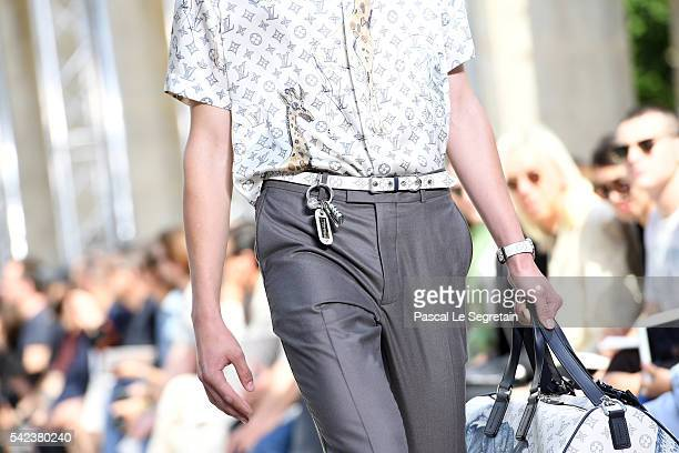 A modeldetail walks the runway during the Louis Vuitton Menswear Spring/Summer 2017 show as part of Paris Fashion Week on June 23 2016 in Paris France