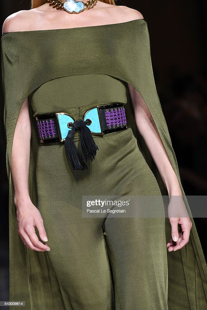 A model,dress detail, walks the runway during the Balmain Menswear Spring/Summer 2017 show as part of Paris Fashion Week on June 25, 2016 in Paris, France.