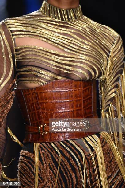 A modeldress detail walks the runway during the Balmain show as part of the Paris Fashion Week Womenswear Fall/Winter 2017/2018 on March 2 2017 in...