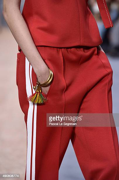 A modeldress detail walks the runway during the Chloe show as part of the Paris Fashion Week Womenswear Spring/Summer 2016 on October 1 2015 in Paris...