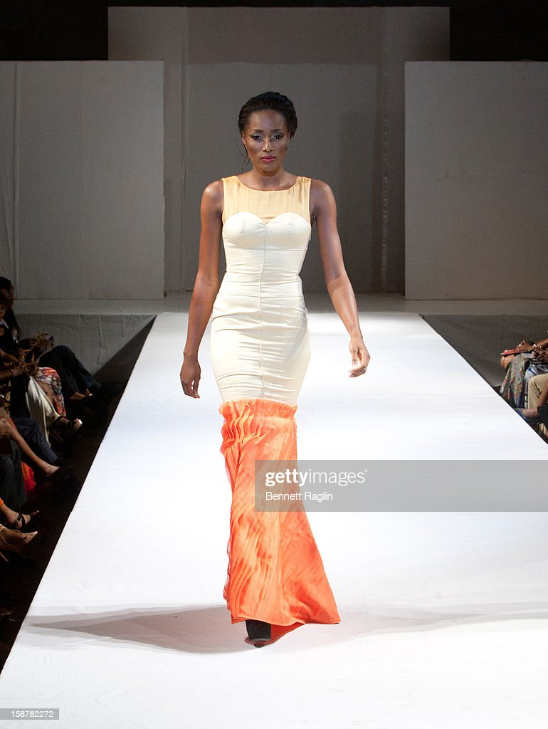 A modeling wearing the Earth Collection by Gogo Majin at Iko Hotel and Suites on December 27, 2012 in Lagos, Nigeria.