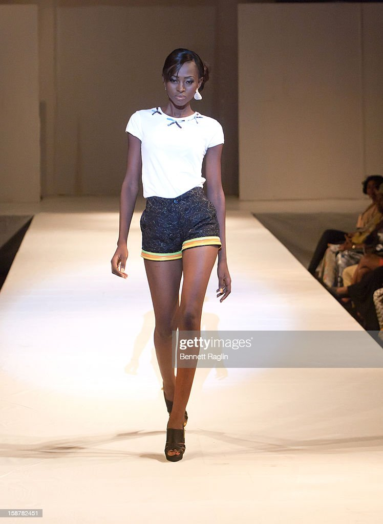 A modeling wearing the Midnight Rainbow Collection by Miss Majin at Iko Hotel and Suites on December 27, 2012 in Lagos, Nigeria.