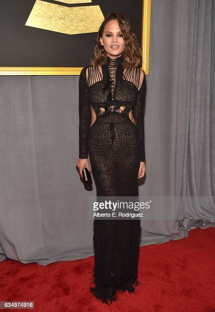 Model/Media Personality Chrissy Teigen attends The 59th GRAMMY Awards at STAPLES Center on February 12 2017 in Los Angeles California