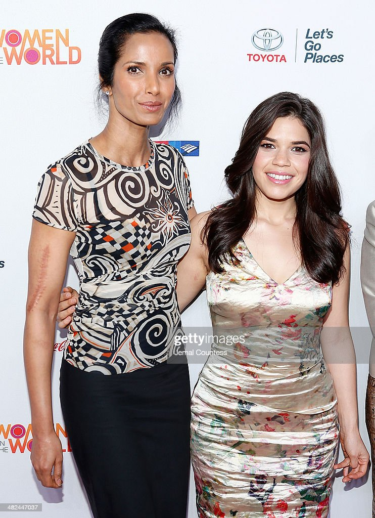 Model/media personality Padma Lakshmi and actress America Ferrera attend the 5th Annual Women In The World Summit at the David Koch Theatre at Lincoln Center on April 3, 2014 in New York City.