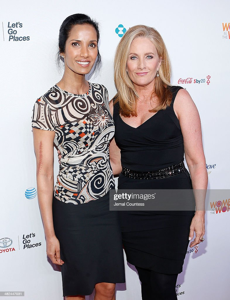 Model/media personality Padma Lakshmi and journalist Alex Witt attend the 5th Annual Women In The World Summit at the David Koch Theatre at Lincoln Center on April 3, 2014 in New York City.