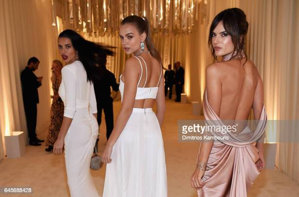 Models Adriana Lima Josephine Skriver and Alessandra Ambrosio attend the 25th Annual Elton John AIDS Foundation's Academy Awards Viewing Party at The...