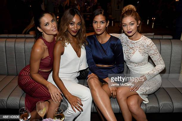 Models Adriana Lima Jourdan Dunn Cris Urena and Gigi Hadid attend Maybelline New York Celebrates New York Fashion Week at Sixty Five on September 13...