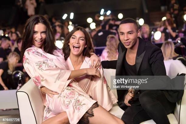 Models Adriana Lima Lily Aldridge and Fashion Designer Olivier Rousteing pose in Hair Makeup during 2017 Victoria's Secret Fashion Show In Shanghai...
