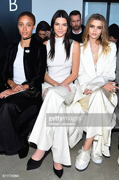 Models Adwoa Aboah Kendall Jenner and Abbey Lee Kershaw attend the Calvin Klein Collection Fall 2016 fashion show during New York Fashion Week at...