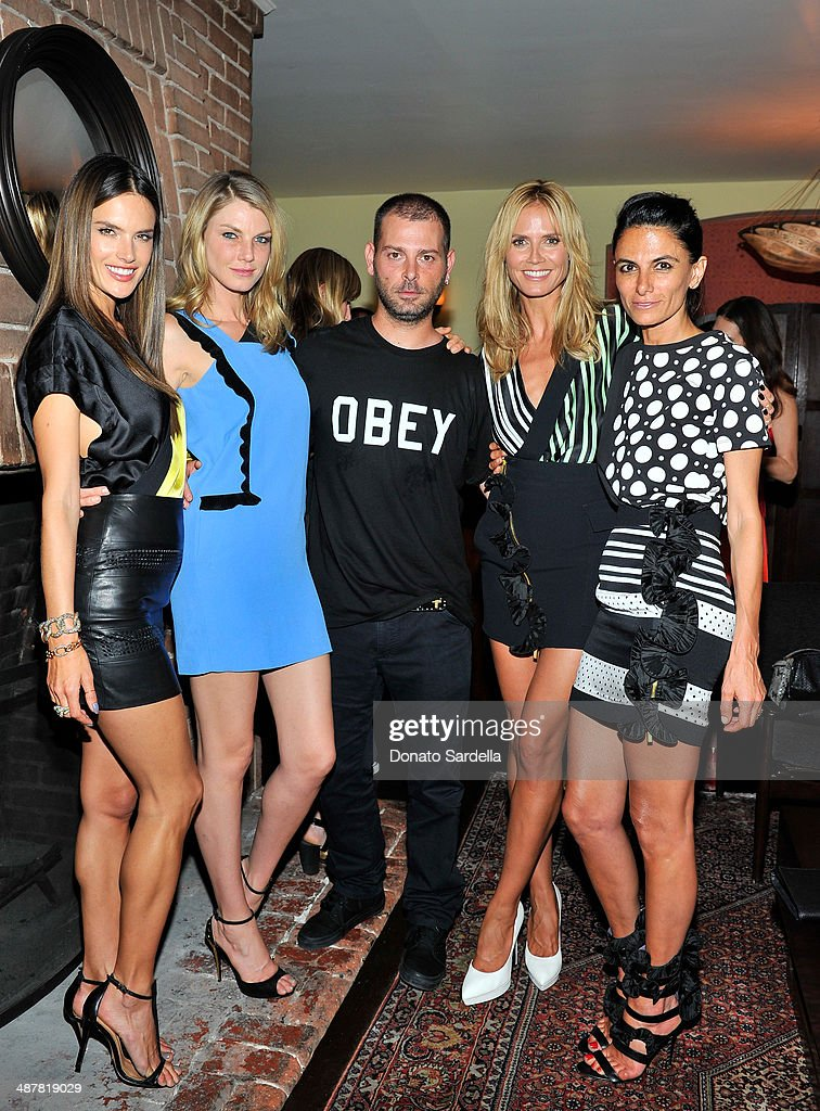 Models Alessandra Ambrosio, Angela Lindvall, designer Fausto Puglisi model Heidi Klum and Maryam Malakpour wearing Emanuel Ungaro attend A private dinner In honor of Fausto Puglisi of Emanuel Ungaro hosted by Barneys New York at Chateau Marmont on May 1, 2014 in Los Angeles, California.