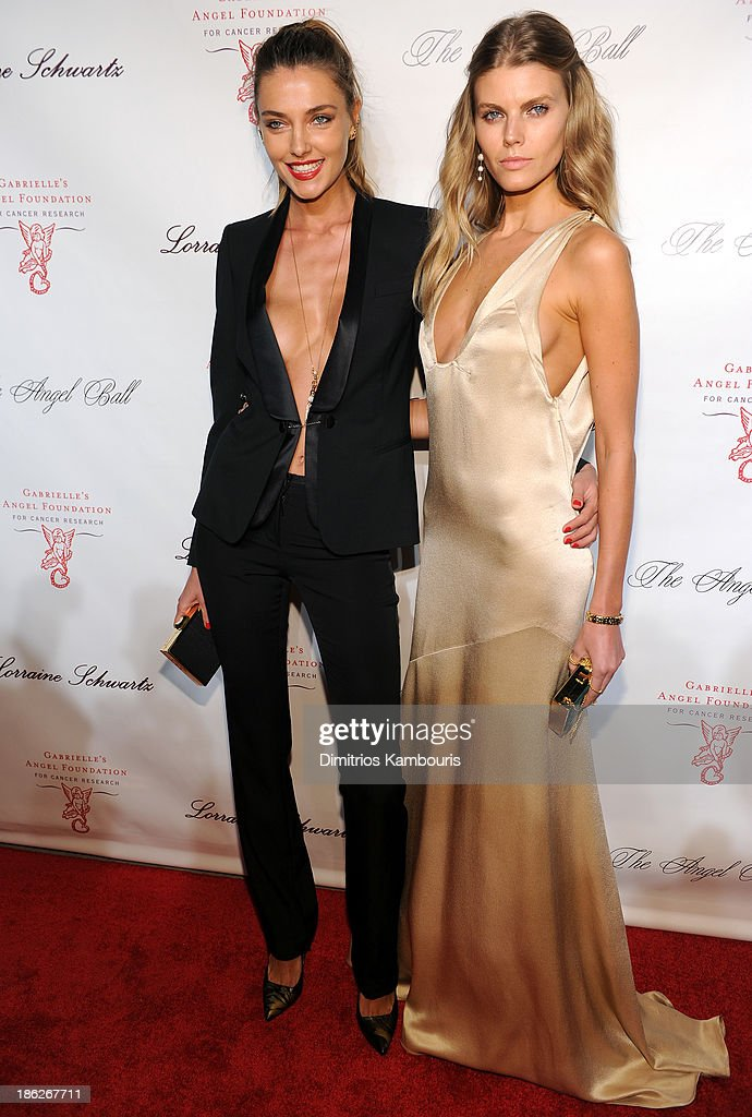 Models Alina Baikova (L) and Maryna Linchuk attend Gabrielle's Angel Foundation Hosts Angel Ball 2013 at Cipriani Wall Street on October 29, 2013 in New York City.