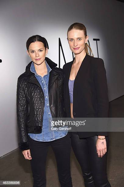 Models Allie Rizzo and Julie Henderson attend the Asaf Ganot show during MercedesBenz Fashion Week Fall 2015 at ArtBeam on February 13 2015 in New...