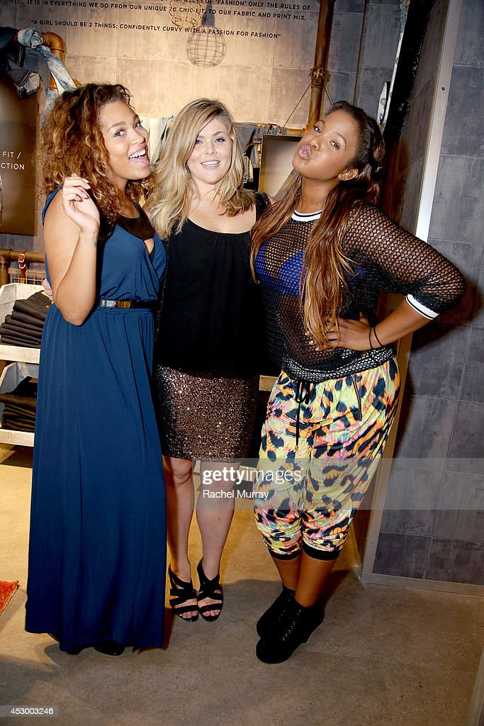 Models Amber Jones, Michaela McGrady, and Seymone CF in City Chic attend the City Chic Exclusive Preview: First U.S Store Culver City at Westfield Culver City Shopping Mall on July 31, 2014 in Culver City, California.