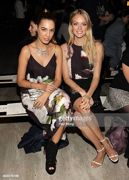 Models Amber Le Bon and Lindsay Ellingson pose for a photo at the Rebecca Minkoff fashion show during MercedesBenz Fashion Week Fall 2015 at The...