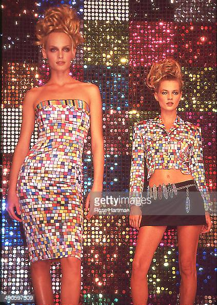 Models Amber Valletta and Kate Moss walk the runway at a Todd Oldham fashion show in Bryant Park New York New York 1995
