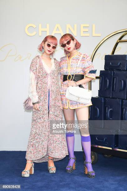 Models AMIAYA attend the CHANEL Metiers D'art Collection Paris Cosmopolite show at the Tsunamachi Mitsui Club on May 31 2017 in Tokyo Japan