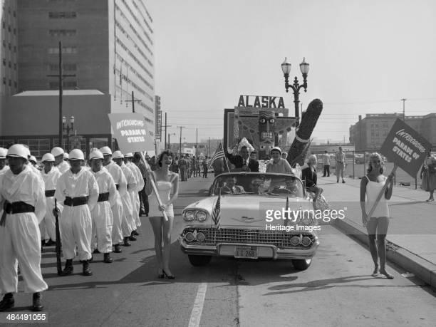 Models and a Cadillac on a parade USA