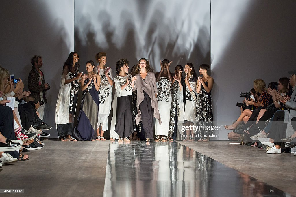 Models and designer walks the runway at the Diana Orving show at Fashion Week in Stockholm SS 15 on August 27, 2014 in Stockholm, Sweden.