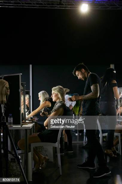 Models and makeup artists are seen backstage ahead of the 3D Fashion Presented By Lexus/Voxelworld show during Platform Fashion July 2017 at Areal...