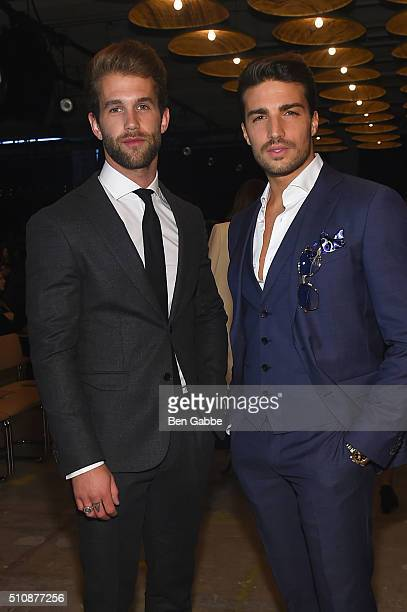 Models Andre Hamann and Mariano Di Vaio attend the Boss Womenswear Fall 2016 fashion show during New York Fashion Week The Shows on February 17 2016...