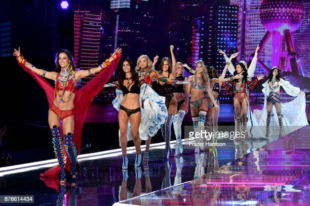 Models Angel Alessandra Ambrosio Lily Aldridge Elsa Hosk Josephine Skriver Stella Maxwell Martha Hunt Liu Wen and Ming Xi walk the runway during the...