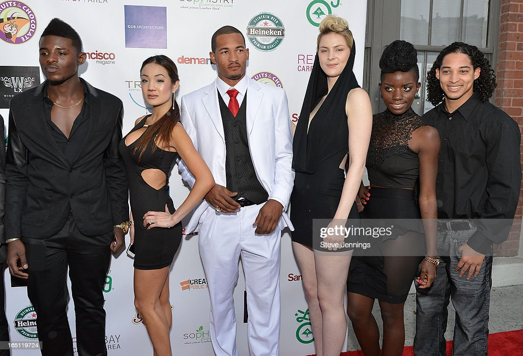 Models appear on the red carpet for the 6th Annual 'Where Hip Hop Meets Couture' Fashion Show at Dog Patch Wine Works on March 30, 2013 in San Francisco, California.