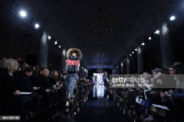 Models appears on the catwalk during the London College of Fashion MA Show at the Waldorf Astoria Hotel Aldwych on day one of London Fashion Week