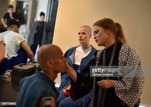 Models are prepared at the Last Hiers show during the MercedesBenz Fashion Week Berlin Spring/Summer 2018 at Rosenthal Studios on July 6 2017 in...