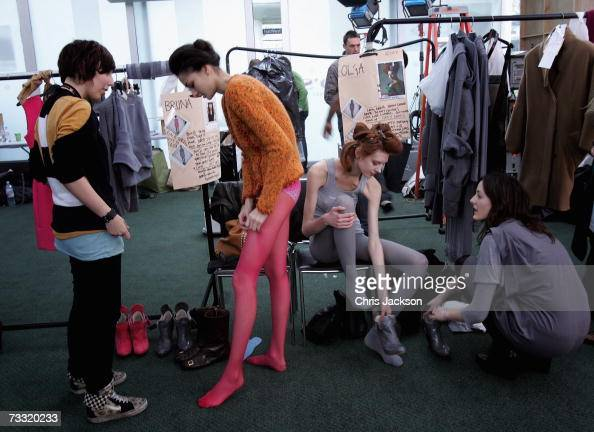 Models are prepared backstage before the Preen fashion show during Autumn/ Winter 2007 London fashion week at Lord's Cricket ground on February 14...