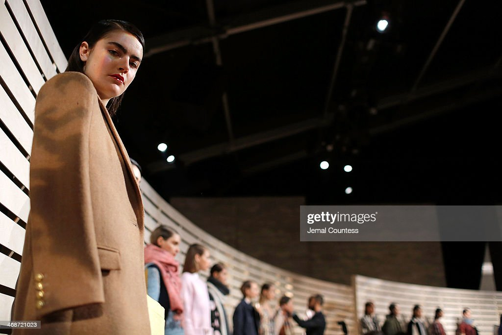 Models are prepped at the J.Crew presentation during Mercedes-Benz Fashion Week Fall 2014 at The Pavilion at Lincoln Center on February 11, 2014 in New York City