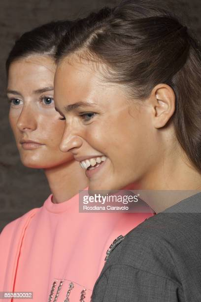 Models are seen ahead backstage of the Au Jour Le Jour show during Milan Fashion Week Spring/Summer 2018 on September 24 2017 in Milan Italy