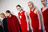 Models are seen at the Victor Alfaro Presentation during MercedesBenz Fashion Week Fall 2015 on February 11 2015 in New York City